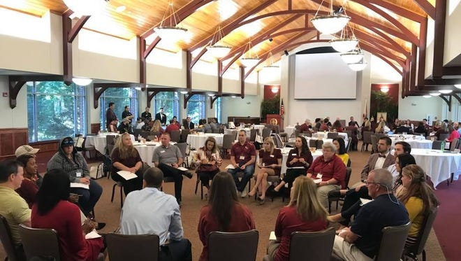 The FSU Alumni Association and Seminole Clubs hold a breakout session during Friday's Leadership Conference in Tallahassee. .