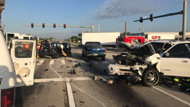 Multiple people were injured in a crash on Palm Bay Road.