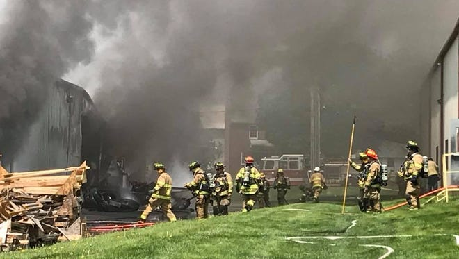 A welding fire destroyed a truck shop in central Pennsylvania.