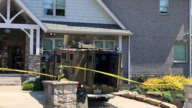 Blount County authorities respond to a home in Townsend's Laurel Valley community on Saturday, May 12, 2018.