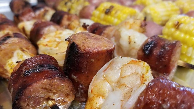 This kebab is a Low Country boil on a stick, with sausage, shrimp and Old Bay seasoning.