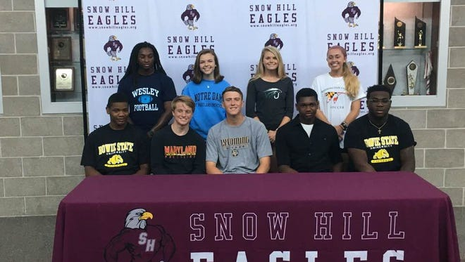 Nine Snow Hill athletes announce their intent to take their game to the college level on Wednesday.