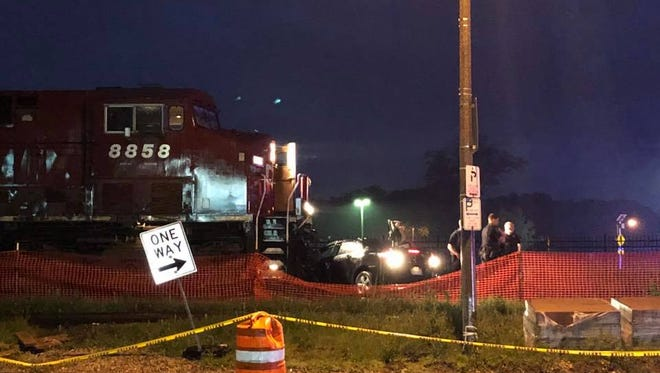 A train-car accident was reported Tuesday evening in Wauwatosa. No one was inside the car at the time.