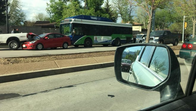 While heading westbound on Drake Road near Taft Hill Road, a Transfort bus hit another car, causing a multi-vehicle crash. Fort Collins police later said the Transfort bus driver was cited for careless driving.