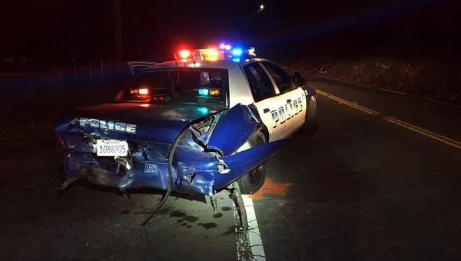 Police said a suspected drunken driver rear-ended this Redding police car on the night of Thursday, Jan. 3, 2019.