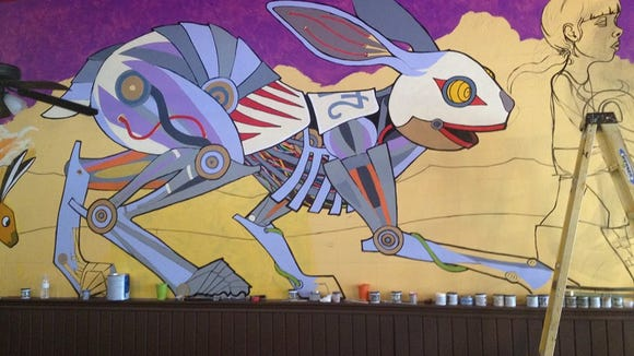 A new mural on the wall at Jack Rabbits in Mars Hill.