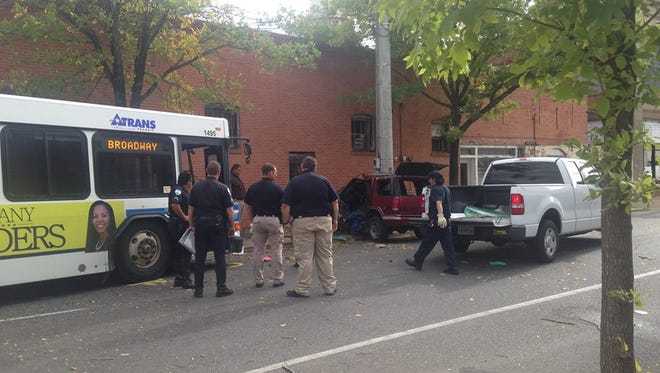 The Alexandria Police Department still is investigating a Monday accident between a city bus and a sports-utility vehicle.