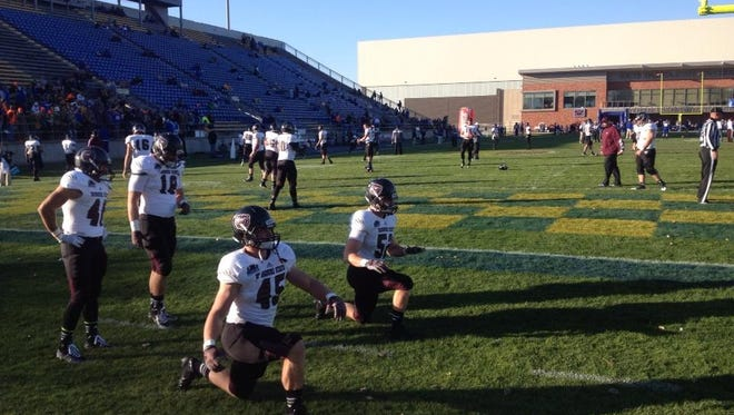 MSU Bears warm up for their game against San Diego State.