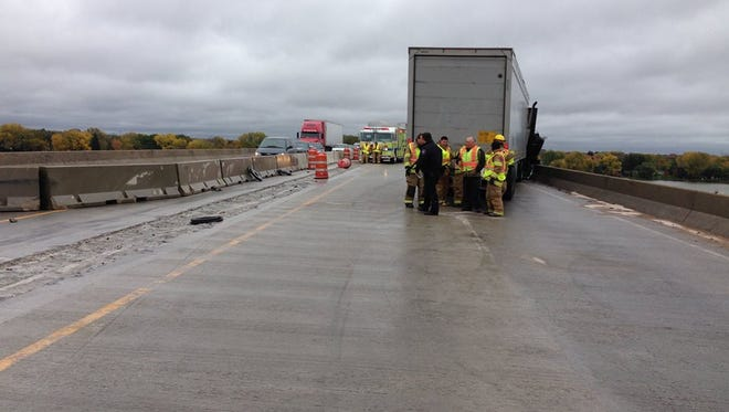 The State 441 bridge over Little Lake Butte des Morts  closed after a crash pushed temporary concrete barricades into traffic lanes on Tuesday.