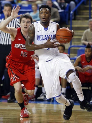 Delaware's Kory Holden, seen in a game against Northeastern last year, scored a career-high 35 points at Boston College Saturday.