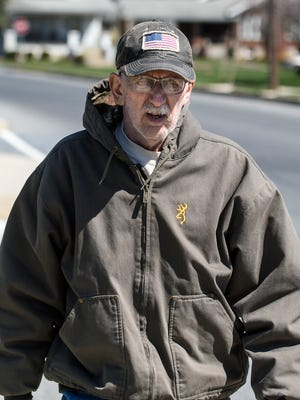 """Cornelius """"Pat"""" Hennessy takes a walk around Palmyra Borough on Wednesday, March 30, 2016, as he trains for an upcoming 5K race. Hennessy is battling brain cancer."""