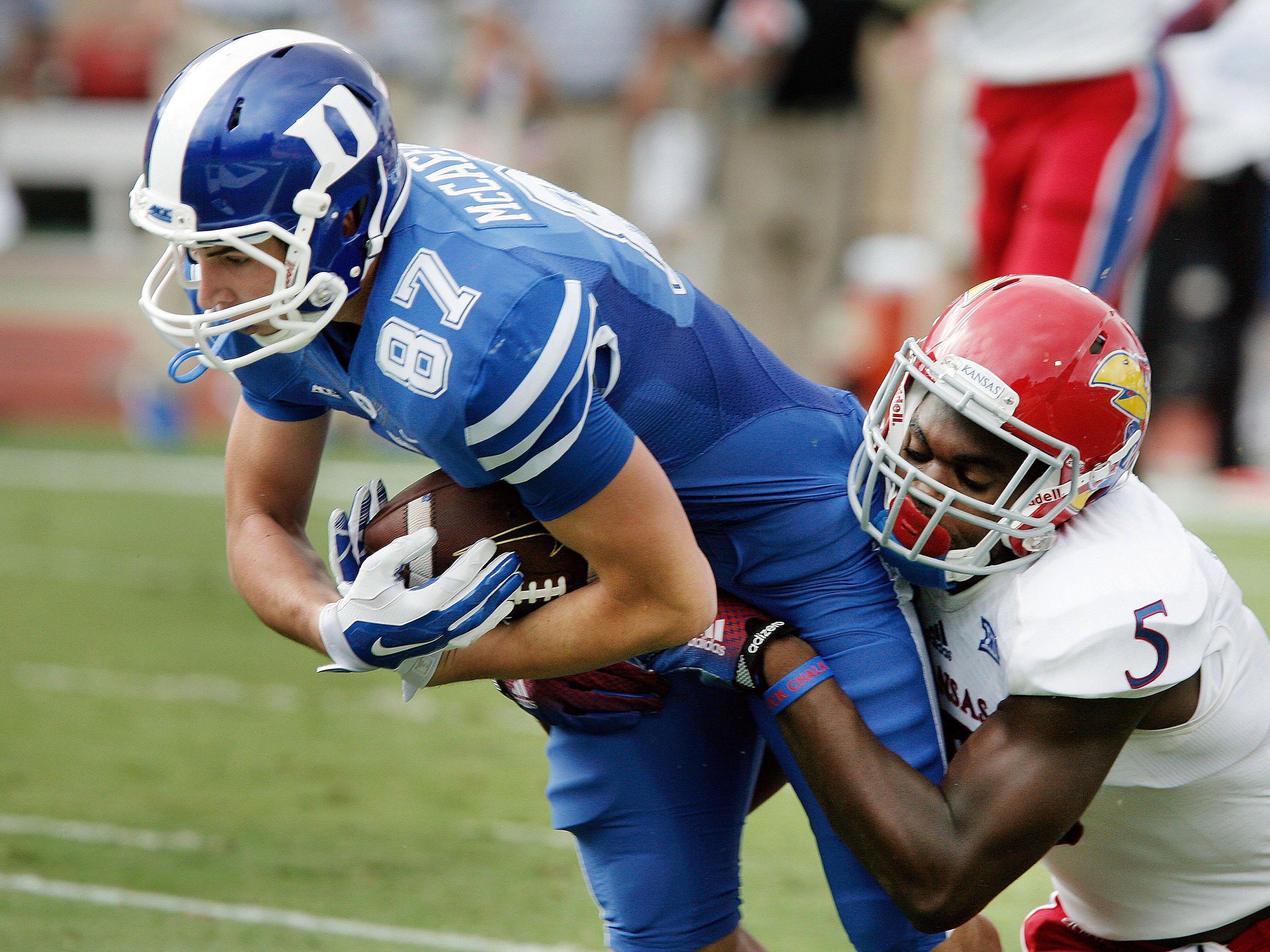 New USC safety Isaiah Johnson (5) had 146 tackles the past two seasons as a starter at Kansas.