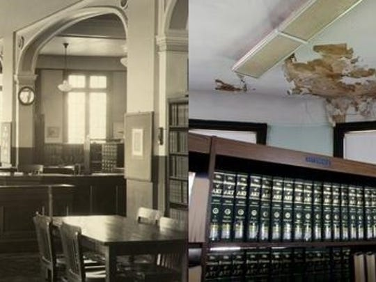 On the left, the Perth Amboy Library is pictured shorly after its opening in 1903. On the right, pictured is damage to the library's ceiling prior to the renovation.