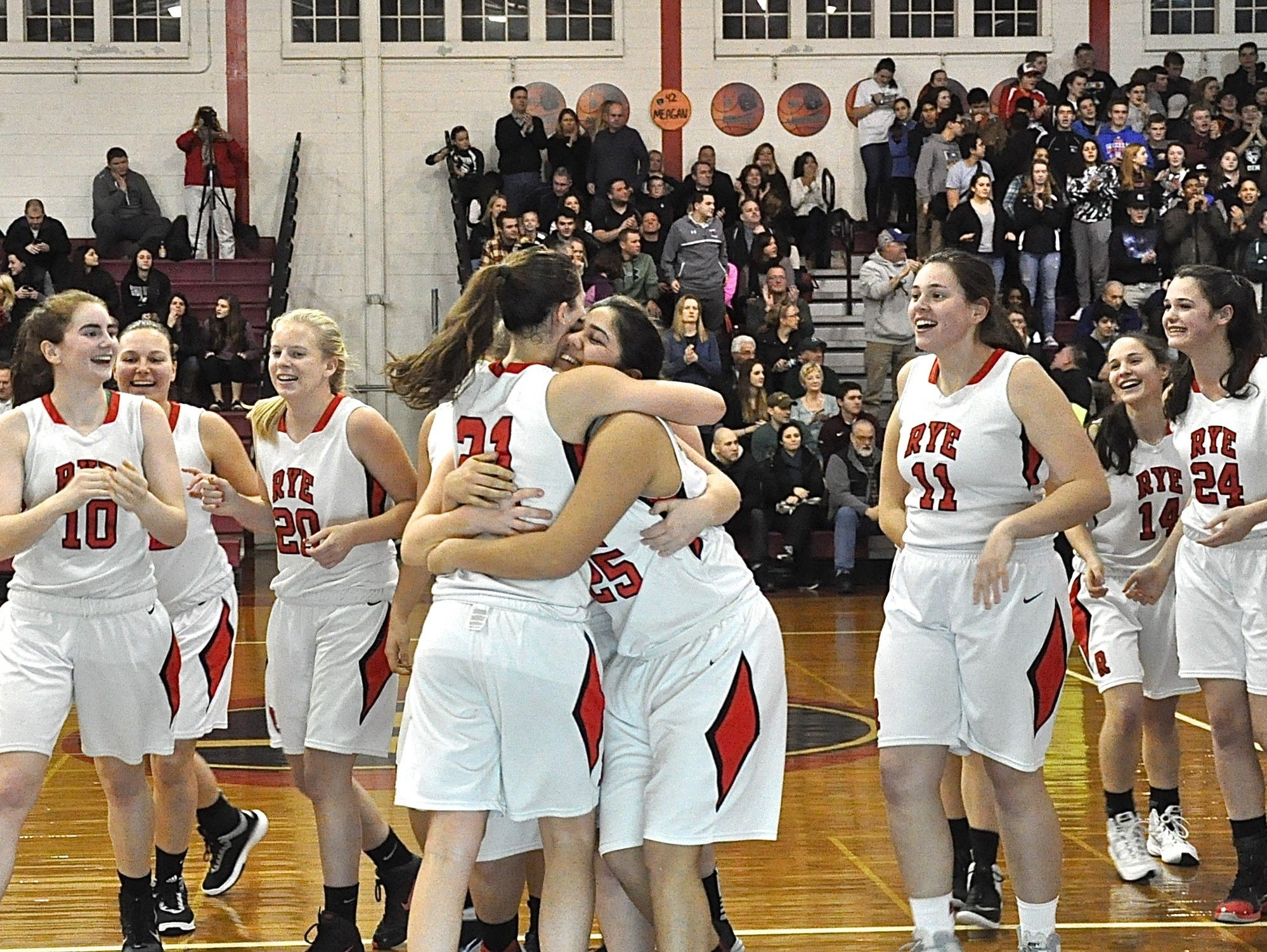 Rye celebrates its third trip in a row to the County Center after defeating Brewster in the Class A quarterfinals.