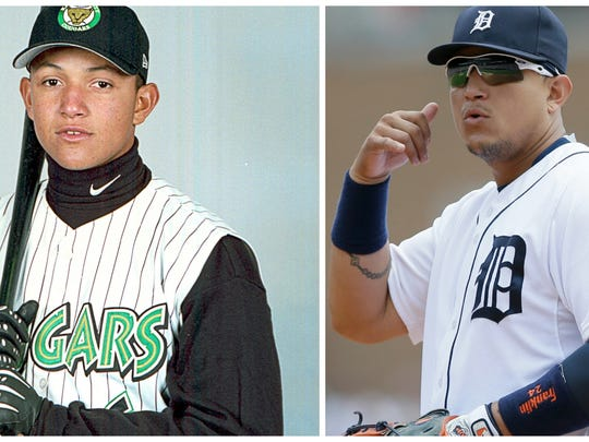 Detroit Tigers star Miguel Cabrera was once a skinny 18-year-old shortstop prospect in the Florida Marlins organization, playing for the Kane County Cougars. Cabrera played a four-game series with Kane County in Lansing in 2001.