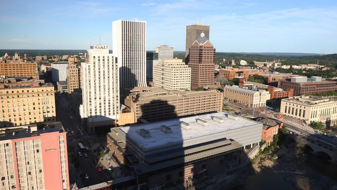 A view of downtown Rochester looking southeast from the former Changing Scene restaurant on E. Main Street.