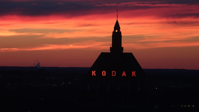 A view of Kodak headquarters during sunset from the former Changing Scene Restaurant.