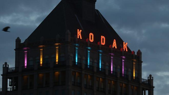 Sunrise over Kodak Tower.