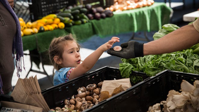 A girl pays for her mother's groceries using Electronic Benefits Transfer (EBT) tokens, more commonly known as food stamps, at the GrowNYC Greenmarket in Union Square on Sept.  18, 2013, in New York City.