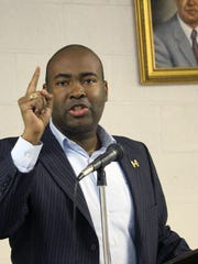 South Carolina Democratic Party Chairman Jaime Harrison speaks Tuesday at a town hall meeting in Anderson.