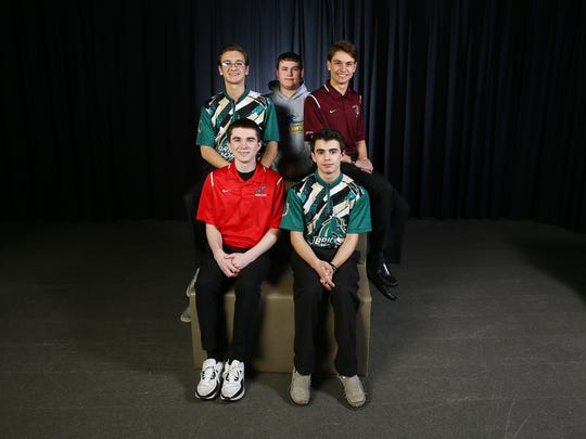 2018 All-Shore boys bowling. Front row: Joe Ocello, l, Alec Hehir, Brick Memorial. Back row: John Boughton, Brick Memorial, l, Kenny Burdge, Manchester Twp High School, Kyle Oliveri, Toms River High School South. March 15, 2018. Neptune, NJ.