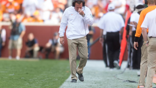 Tennessee Head Coach Butch Jones reacts after a play during the Tennessee Volunteers vs. Georgia Bulldogs game at Neyland Stadium in Knoxville, Tennessee on Saturday, September 30, 2017.