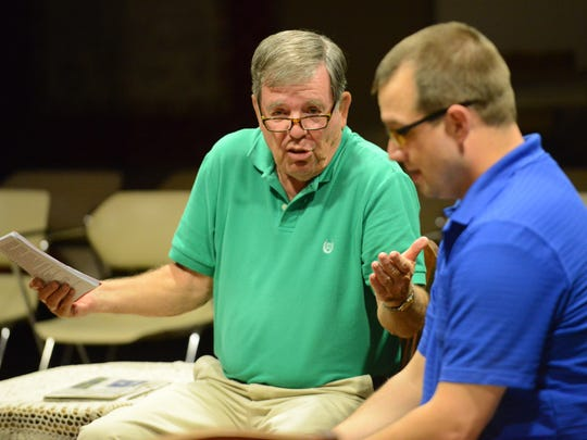 """John Sweyer, left, playing Frank Gianelli, argues with Dan Betz, playing his grandson Nick Cristano, during the Garret Players' performance of """"Over the River and Through the Woods,"""" Monday in Lancaster."""
