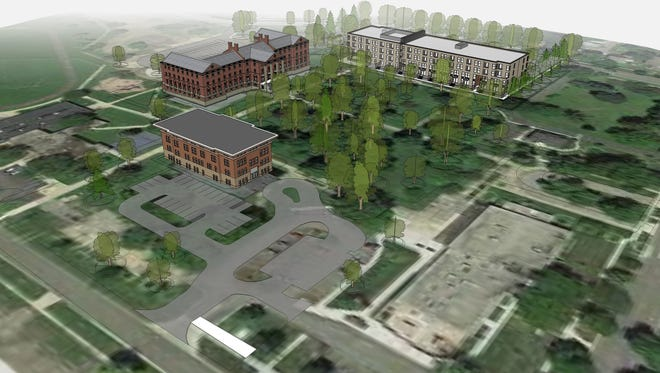A rendering supplied by TWG Development LLC shows the new housing that will be built at the School for the Blind on the right. Two older buildings will remain.