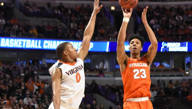 Malachi Richardson scored 21 of his 23 points in the second half while leading Syracuse to an Elite Eight upset of Virginia last March and to the Final Four.