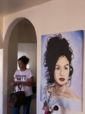 At her home, Annabell Gomez has a huge canvas painting of daughter Valerie Munique Tachiquin-Alvarado, who was shot and killed in 2012 by A plain-clothes Border Patrol agent in a residential suburb of San Diego. The agent alleged she had struck him and was carrying him on top of her car, prompting him to fire in self-defense.