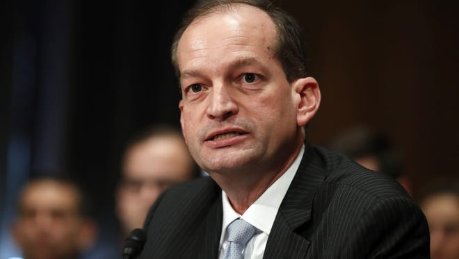 In this March 22, 2017, file photo, then-Labor secretary-designate Alexander Acosta testifies on Capitol Hill in Washington, at his confirmation hearing before the Senate Health, Education, Labor and Pensions Committee.