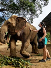 Jordanna Rabadi, 21, of Wappingers Falls, a student at SUNY Delhi, is shown working with an elephant at the Elephant Nature Park in northern Thailand where she volunteered this summer to advance her veterinarian studies.
