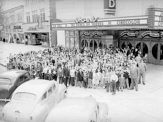 School children and safety patrol members are seen in front of the Grand Theatre on Landis Avenue circa the early 1950s.