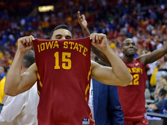 Iowa State Cyclones guard Naz Long (15) celebrates after the win over the Kansas Jayhawks in the championship game of the Big 12 tournament at Sprint Center. Iowa State Cyclones won 70-66.