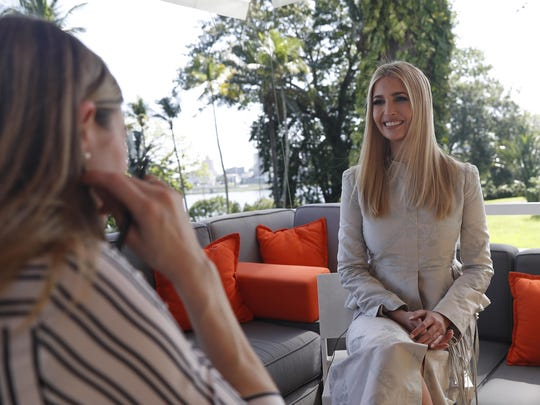 White House senior adviser Ivanka Trump speaks during an interview with The Associated Press, Wednesday April 17, 2019, in Abidjan, Ivory Coast, where Trump is promoting a White House global economic program for women.