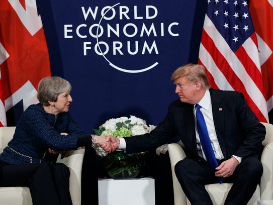 President Donald Trump meets with British Prime Minister