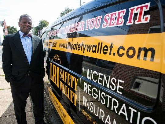 Wilmington inventor and businessman Rahim El is marketing the LRI Safety Wallet, a trifold sleeve that holds a driver's license, insurance and vehicle registration and drops down from a car's visor to help drivers avoid reaching into their pocket or glove compartment when stopped by police.