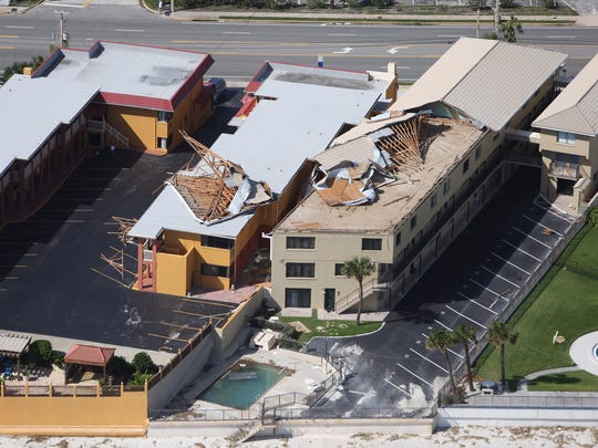 An aerial view of  damage in Daytona Beach after Hurricane Matthew brushed Florida's east coast Oct. 8, 2016.