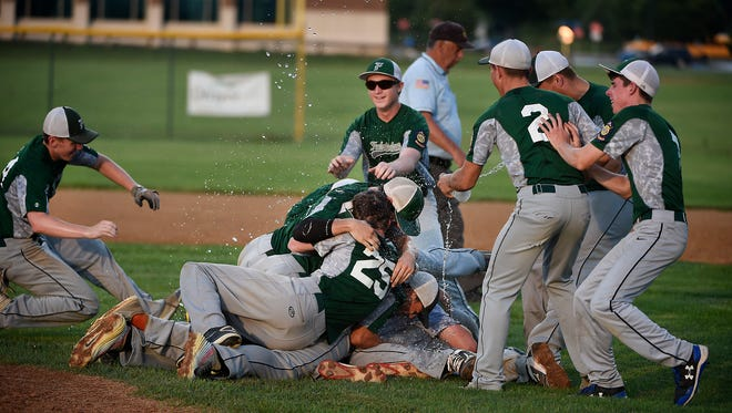 Fredericksburg won its first county title since 2009 after defeating Campbelltown 5-0 in Palmyra Tuesday night, and celebrated with a dog pile on the pitcher's mound.
