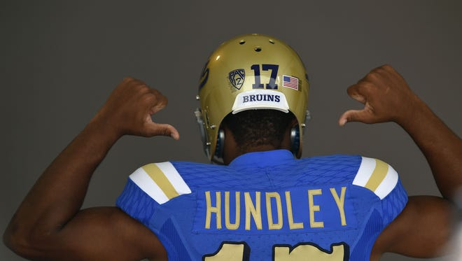 UCLA Bruins quarterback Brett Hundley poses for a photo during the Pac-12 Media Day at the Studios at Paramount on July 24, 2014.
