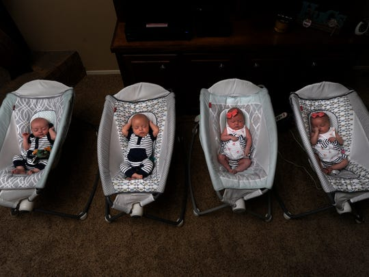 Abbott, Anson, Auree, and Aspen Anders sleep in their cribs July 12, just shy of 2 months. They celebrated their first birthday with a fiesta and mom and dad, Meagan and Justin, at their home.
