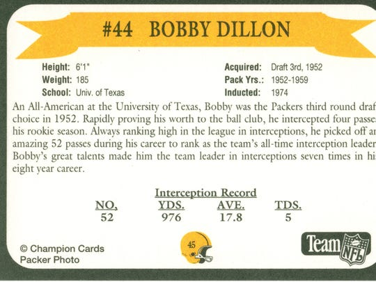 Packers Hall of Fame player Bobby Dillon