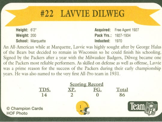 Packers Hall of Fame player Lavvie Dilweg