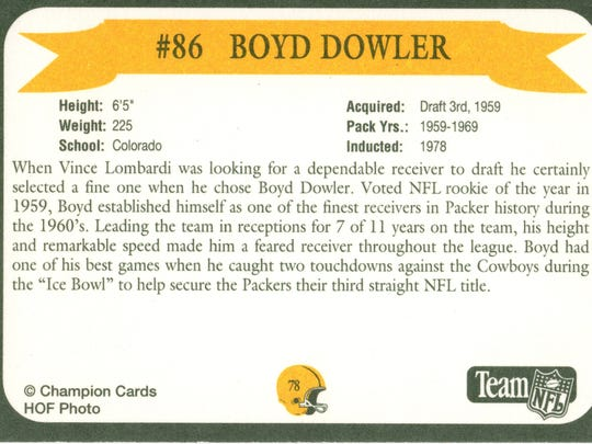 Packers Hall of Fame player Boyd Dowler