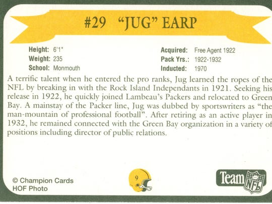 Packers Hall of Fame player Jug Earp