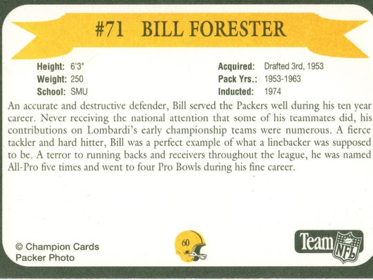 Packers Hall of Fame player Bill Forester