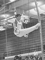 Frank Perrone competes on the rings for Central Washington State College in the early 1970s.