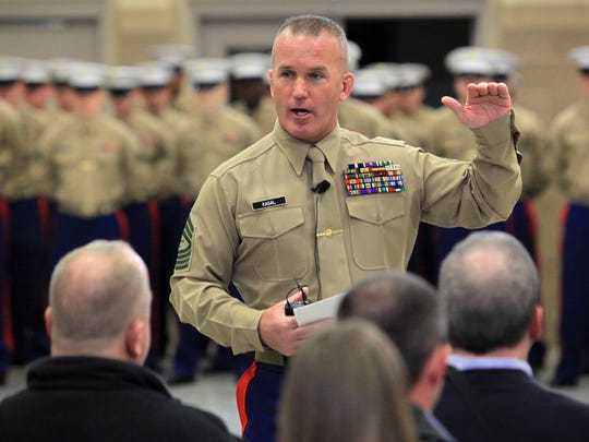 Sgt. Maj. Brad Kasal gives his farewell speech to all during the Marine Corps Relief and Appointment Ceremony Friday at the Freedom Center at Camp Dodge in Johnston in January 2010.