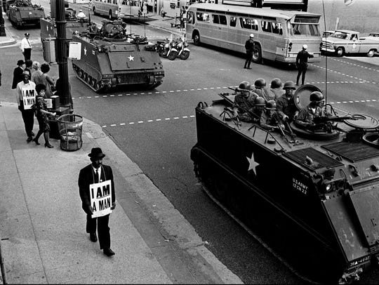 Memephis sanitation strike marches on March 29, 1968.