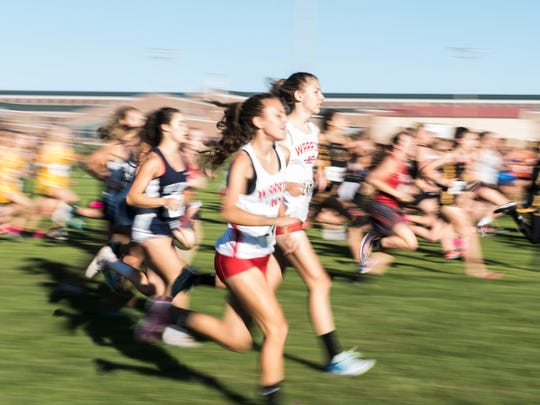 Runners compete during the girls' race at the YAIAA Cross Country Championships at Gettysburg Area High School, Oct. 17, 2017.